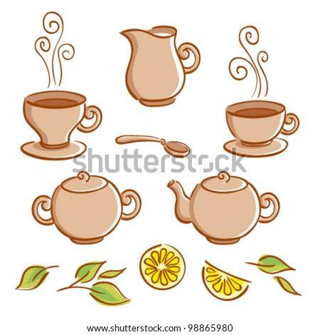 Vector set of tea ware and tea drinking elements - stock vector
