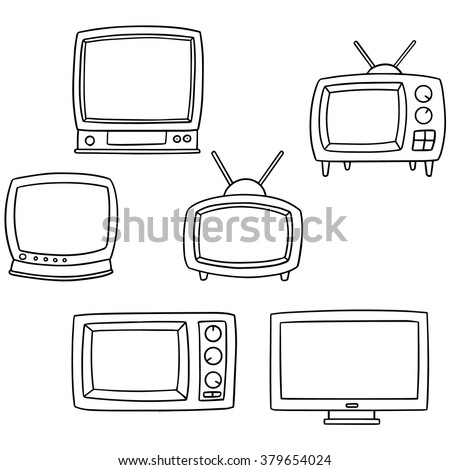 vector set of television - stock vector