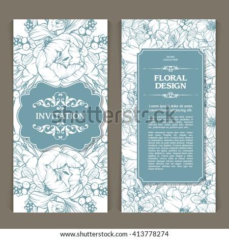 Vector set of template vintage floral background. Elegant wedding invitation design, Greeting Card, banner - stock vector
