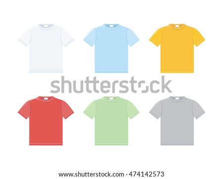 Vector set of templates colored t-shirts
