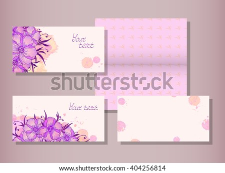 Vector set of templates invitations or greeting cards with hand drawn flowers and watercolor elements. Collection of templates in pink and violet colors. - stock vector