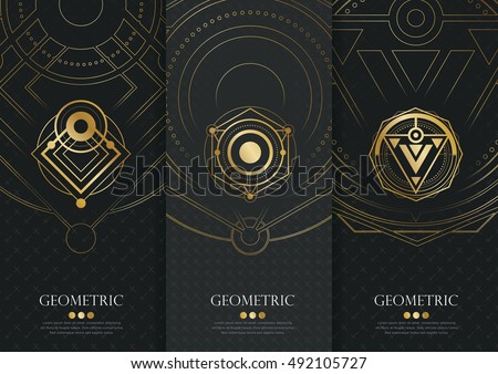 Vector set of templates packaging,black labels and frames for packaging for luxury products in geometric trendy linear style,identity,branding,golden pattern in trendy linear style,vector illustration