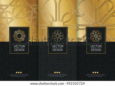 Vector set of templates packaging, black labels and frames for packaging for luxury products in trendy linear style,banner,identity, branding,golden pattern in trendy linear style, vector illustration