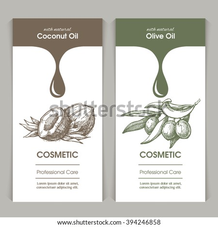 Vector set of templates packaging cosmetic, label, banner, poster, identity, branding.   Stylish design with sketch illustration of coconut and olive branches. Hair care, skin care. Natural oils. - stock vector