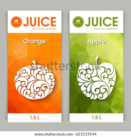 Stock Vector Set Of Templates Packaging Fruit Juice Label Banner Poster Identity Branding Abstract Natural Fresh Retro