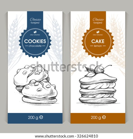 Vector set of templates packaging sweets, label, banner, poster, identity, branding. Background with sketch hand drawn illustration - cookies and cake. Stylish design for baked goods - stock vector
