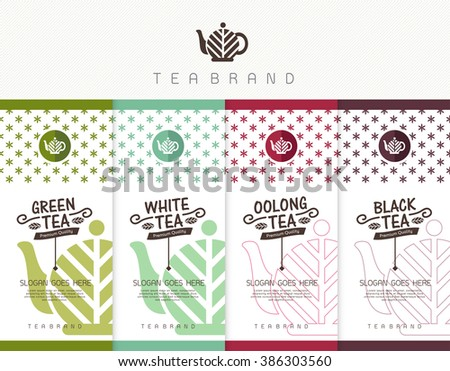 Vector set of templates packaging tea, logo, label, banner, poster, identity, branding. Stylish design for tea package. - stock vector