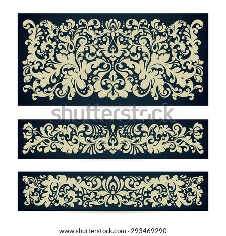 Vector set of templates with ornamental damask pattern decor composition Vintage background for wedding invitation design, Greeting Card, banner, packaging - stock vector
