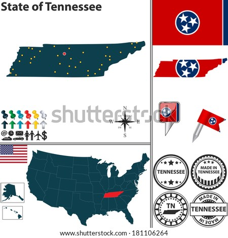 Vector set of Tennessee state with flag and icons on white background - stock vector