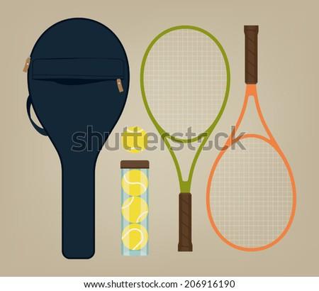 Vector set of tennis rackets, tennis bag and tennis balls - stock vector