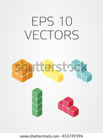 Vector set tetris 3d blocks stock vector 455749396 shutterstock vector set of tetris 3d blocks ccuart Gallery