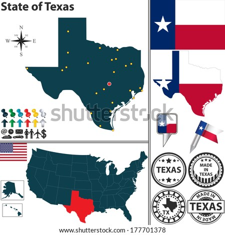 Vector set of Texas state with flag, coat of arms and icons on white background - stock vector
