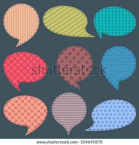 Vector set of  textile speech bubbles - stock vector