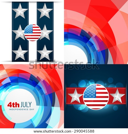 vector set of 4th july american independence day background abstract illustration - stock vector