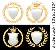 vector set of the white shields with golden wreath - stock vector