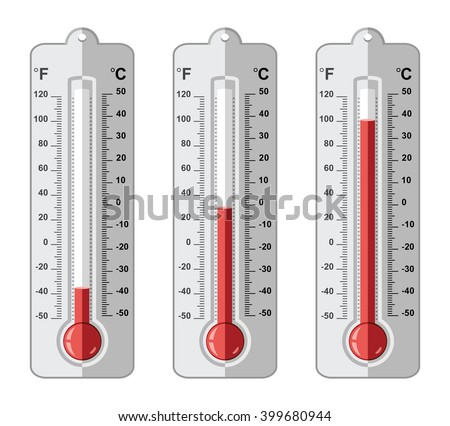 vector set of thermometers at different levels with fahrenheit and celsius scale - stock vector