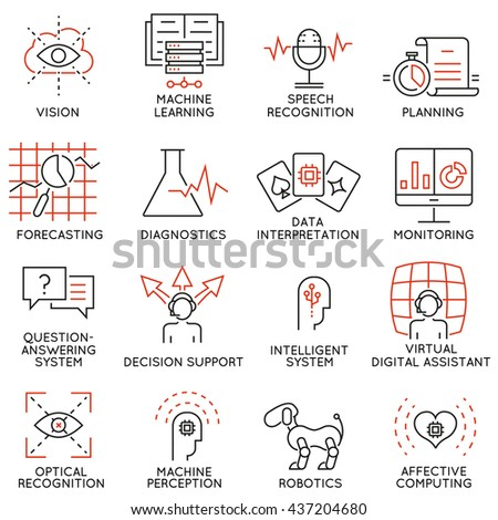 Vector set of 16 thin icons related to artificial intelligence and data science. Mono line pictograms and infographics design elements - part 1 - stock vector