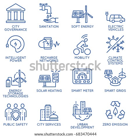 Vector set of thin linear 16 icons related to technology for intelligent urbanism, smart city and urban development. Mono line pictograms and infographics design elements - part 3