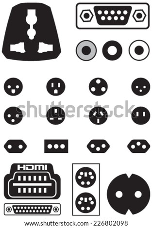 Vector set of thirteen international sockets and video ports European EU to UK converter plug travel adapter isolated over white background. - stock vector