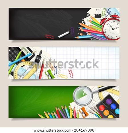 Vector set of three back to school horizontal banners. Templates with supplies tools. Place for your text. Place for your text. Layered realistic vector illustration. - stock vector