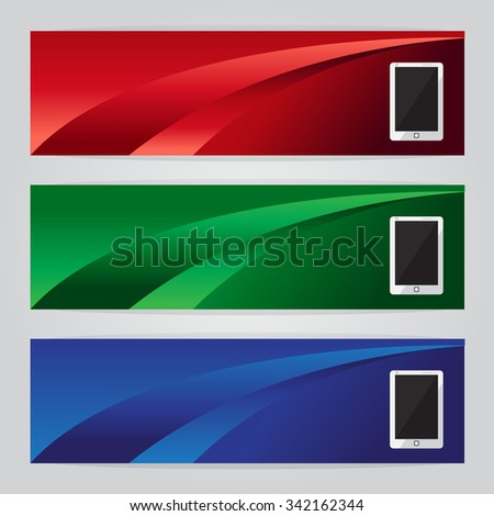 vector set of three banners phone abstract headers with colorful red green blue - stock vector
