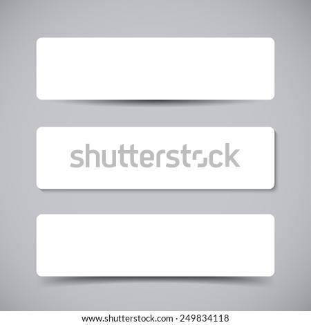 Vector set of three Banners with round corners with transparent vector shadows. Vector template, mock up - stock vector