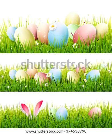 Easter Egg In Grass Border Clipart | www.pixshark.com ...