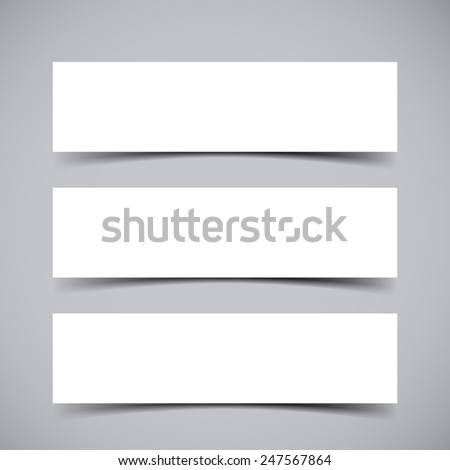 Vector set of three empty Banners with transparent vector shadows. Vector template, mock up - stock vector