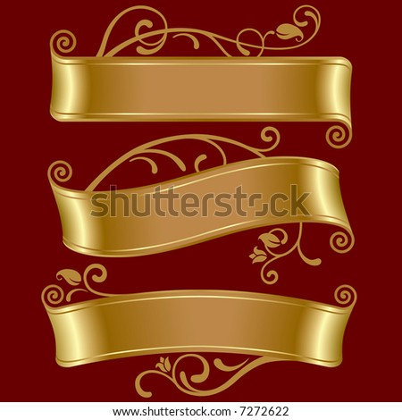 Vector set of three gold banners - stock vector