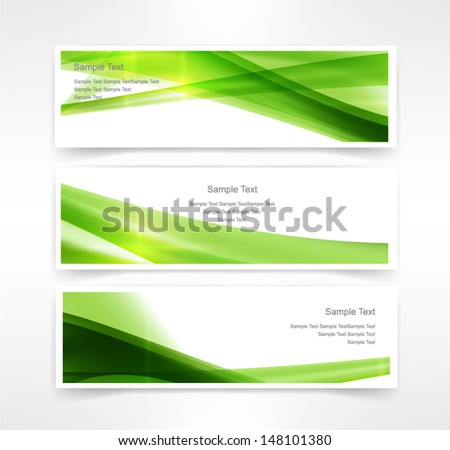 Vector set of three header designs business tree Nature  - stock vector