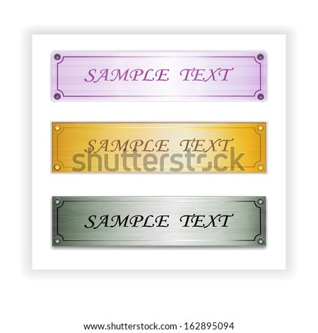 Vector Set of three metal plate banners