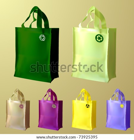 vector set of three reusable shopping bags - stock vector