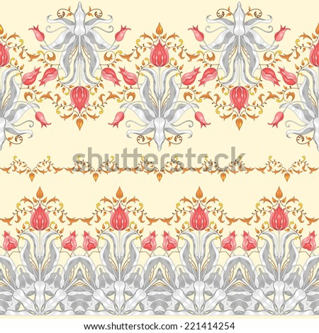 Vector set of  three seamless borders. Tulip flower ornament and decor with leaves.  - stock vector
