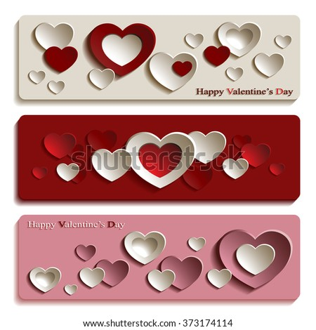 Vector Set of Three Trendy Banners for Valentine's Day with Cute Pink, Red and White Paper Hearts  - stock vector