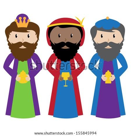 Vector Set of Three Wise Men or Magi - stock vector