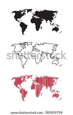 Vector set of three world maps. Can use for print, cover, label, sticker, sign, poster, banner.
