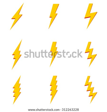 Vector Set of Thunder Lighting Icons - stock vector