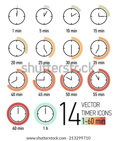 Vector set of timer icons with color blend from light turquoise to weathered red time scale | Different time interval icons | Fourteen clock faces with minutes ticking   - stock vector