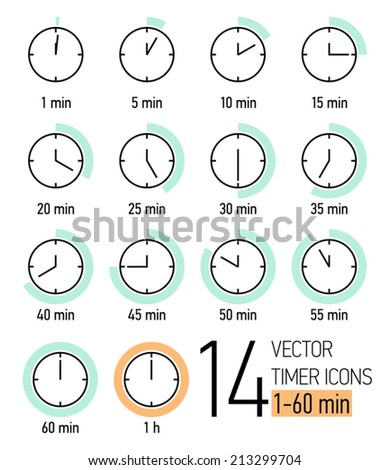 Vector set of timer icons with light turquoise and orange colored time scale | Different time interval icons | Fourteen clock faces with minutes ticking   - stock vector