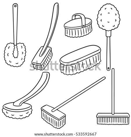 Vector Set Of Toilet Brush