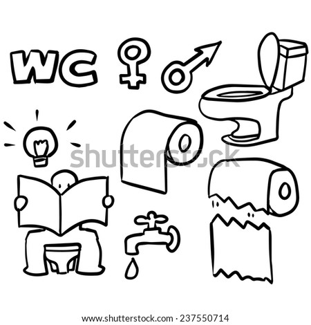 vector set of toilet icon - stock vector
