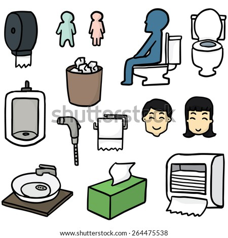 vector set of toilet icon - stock vector