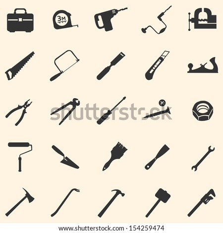 vector set of 25 tool icons - stock vector