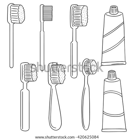 vector set of toothbrush and toothpaste - stock vector