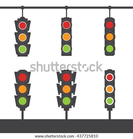 Vector set of traffic light flat icons.  - stock vector