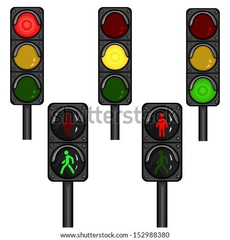 vector set of traffic lights - stock vector