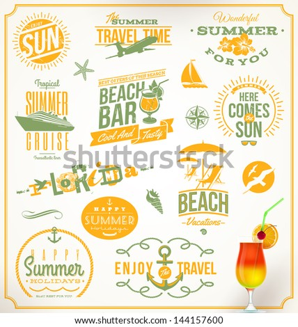 Vector set of travel and vacation emblems and symbols - stock vector