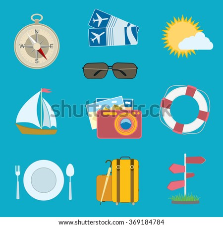 vector set of travel icons. flat compass, airplane tickets, sun with cloud, camera, sailing boat - stock vector