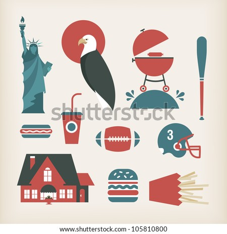 Vector set of travelling icons for America (USA) - stock vector