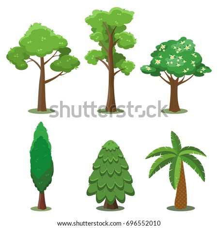 Vector set of trees in flat style. Ash, poplar, magnolia, cypress, spruce, palm tree.